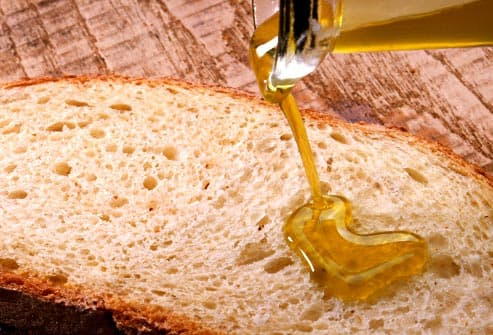 olive oil drizzled on bread