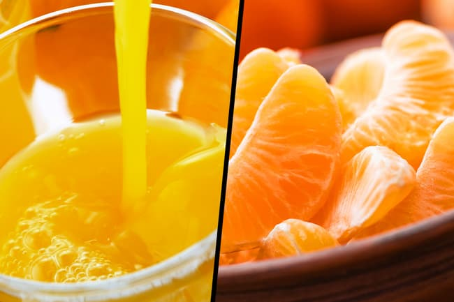 photo of orange juice and orange wedges