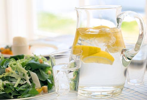lemon water and salad