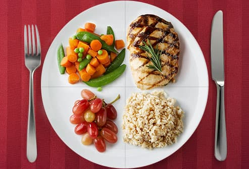 rice, chicken, veggies and fruit