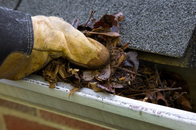 photo of cleaning gutter
