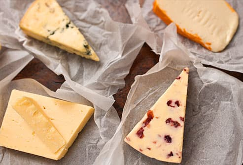 Assorted aged cheeses