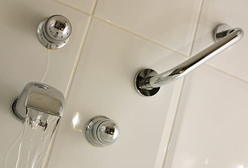 handrail on shower wall
