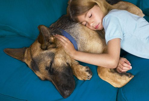 Young Girl Laying Next To Dog