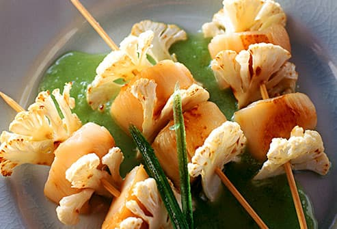 cauliflower and seafood kabobs