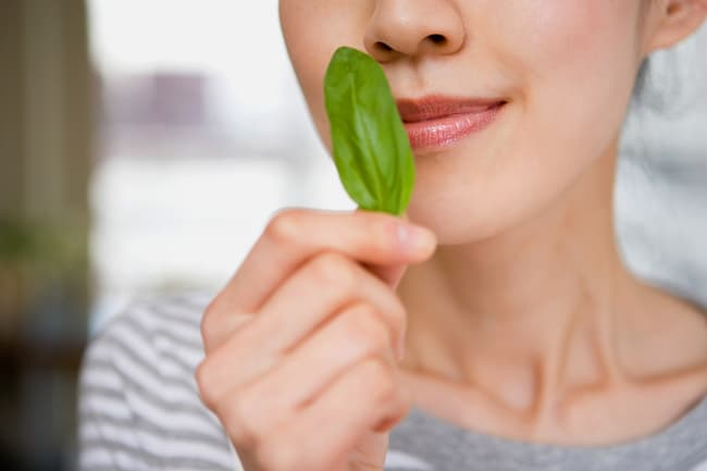 photo of woman smelling basil