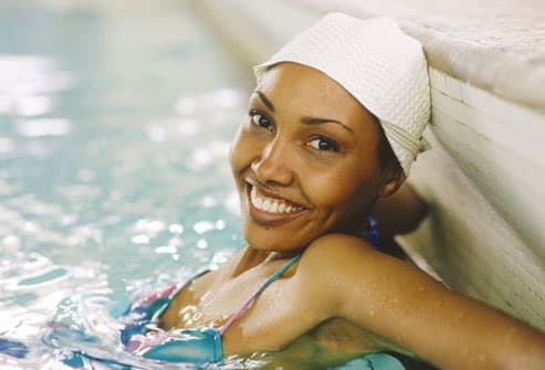 Smiling Woman In Pool