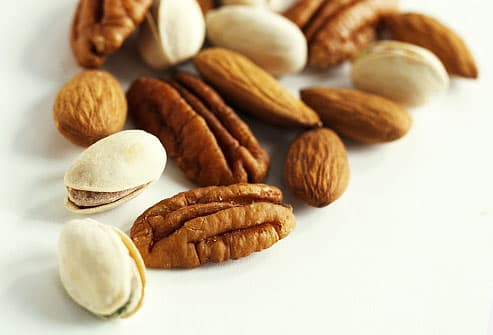 Pistachio nuts, walunts, and almonds
