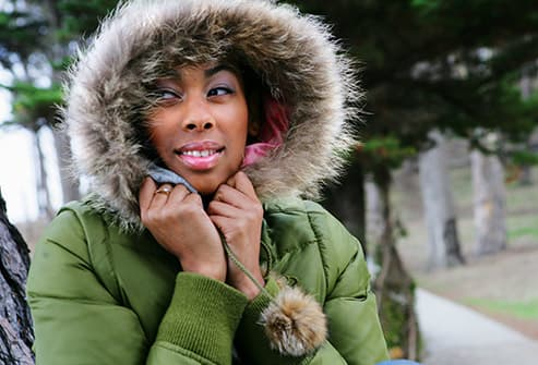 woman in parka