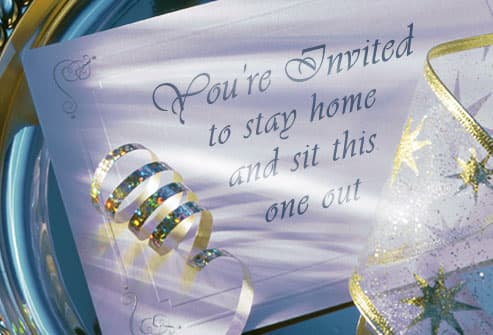 Invitation to stay home on silver tray