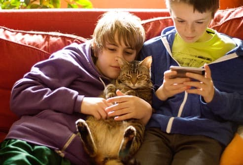 kids and cat hanging out on couch