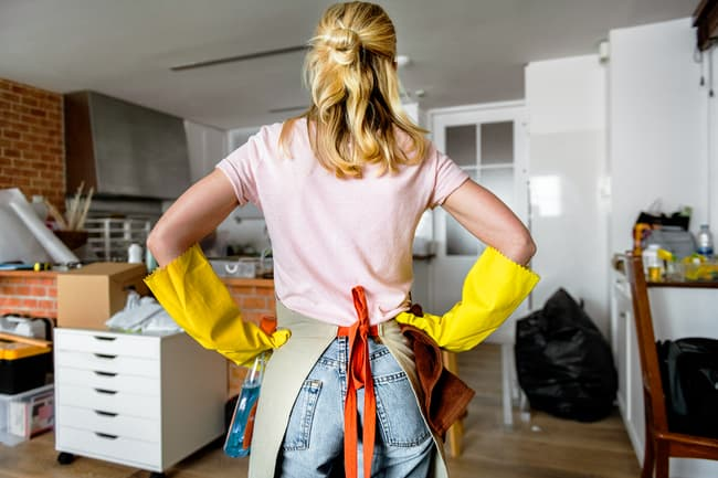 photo of woman ready to clean