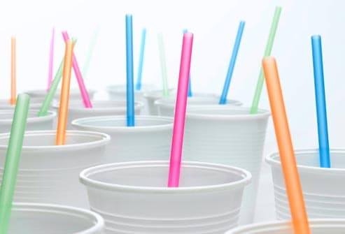 colorful straws in cups