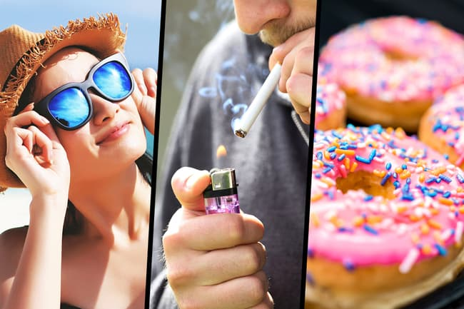 photo of sunshine, smoking, sweets triptych