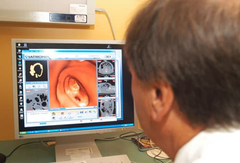 Radiologist reviewing CTscan of the colon