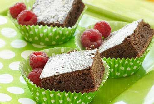 brownie with raspberries