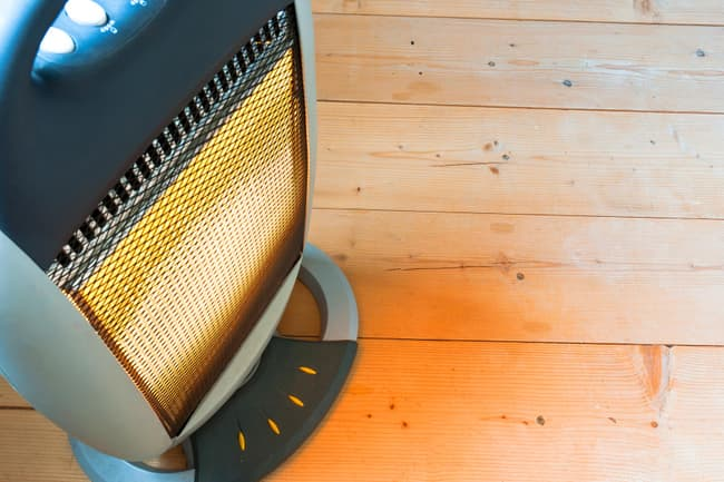 space heater on floor