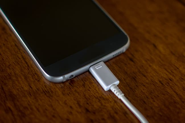 photo of phone charging