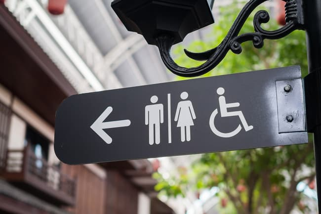 photo of restroom sign