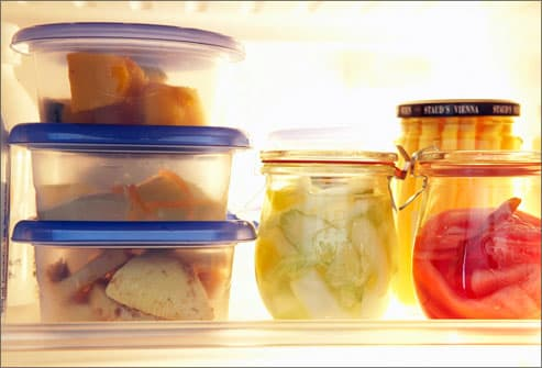 Leftovers stored in airtight containers in fridge