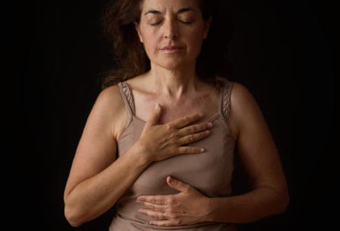 woman breathing deeply