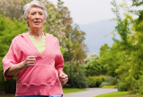older woman with copd jogging