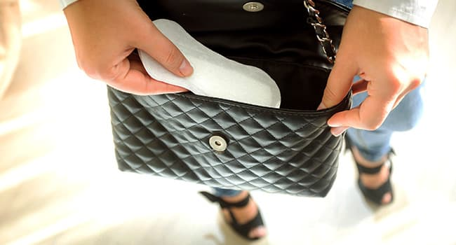 sanitary napkin in handbag