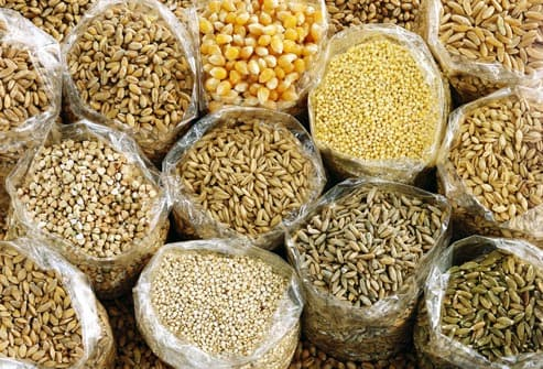 assortment of grains and cereals