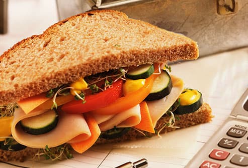 Turkey and vege sandwich on whole wheat
