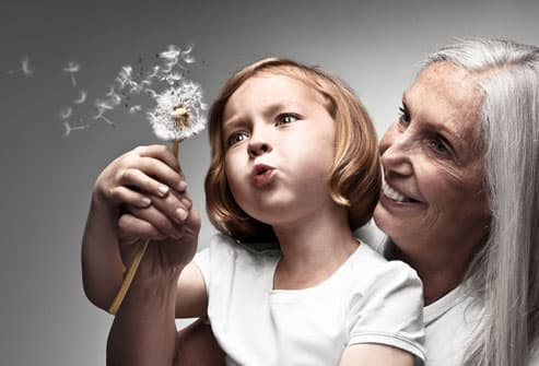 Grandmother and Grandchild Blowing Dandelion