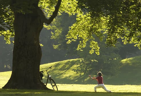 Woman doing yoga under tree