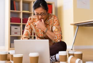 Woman using internet to excess