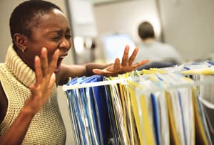 Woman screaming and overemotional at work