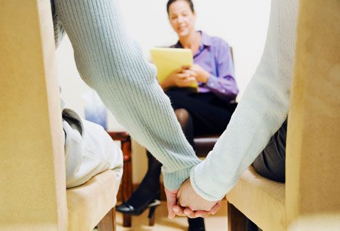 Couple Holding Hands at Therapy