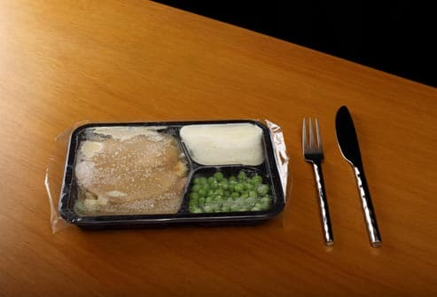frozen tv dinner on table