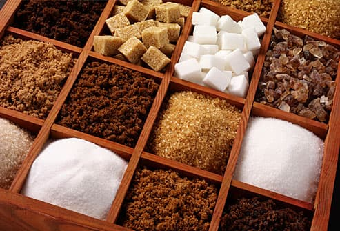 Assorted sugars in divided boxes
