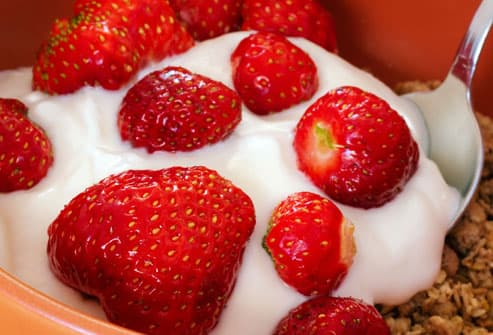 Spoonful of Yogurt with Strawberries