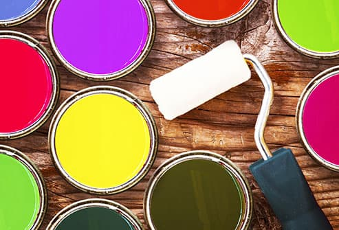 colorful paint and roller