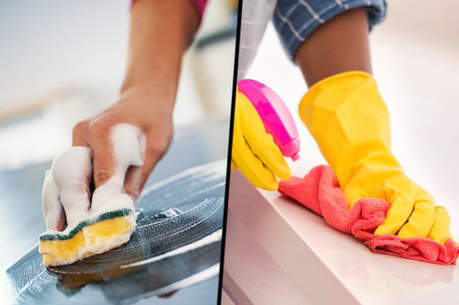 photo of cleaning countertops diptych