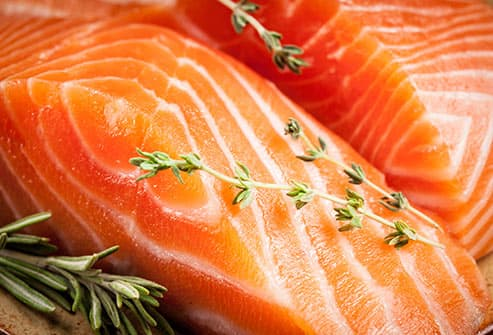 raw salmon filets close up