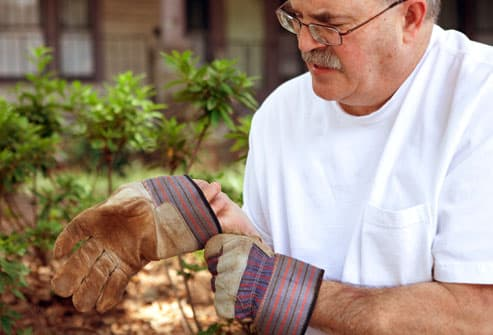 Man trying to put on gardening gloves