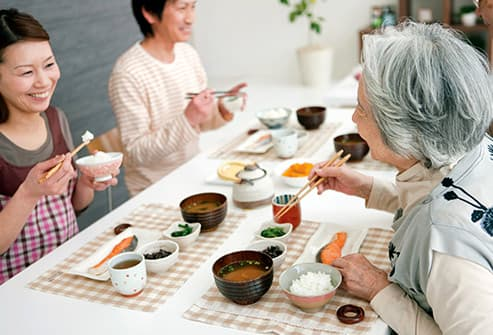 daughter and senior mother eating in japan