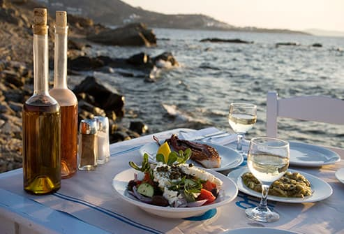 greek meal by the aegean sea