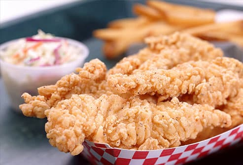 Fried Chicken Strips and Coleslaw