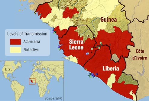map of affected areas in w africa