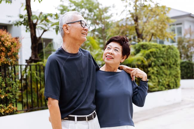 photo of mature couple outside
