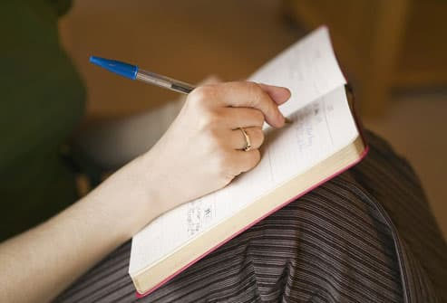 Woman Tracking Pain In Journal