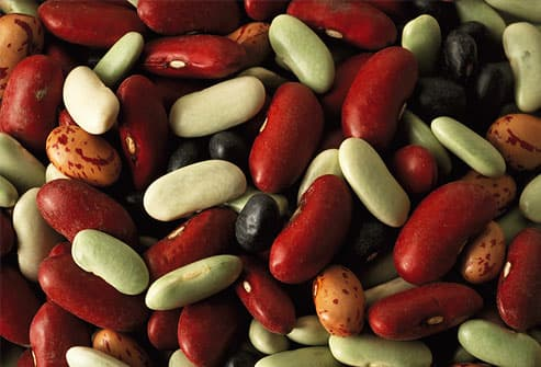 Various, colorful dried beans