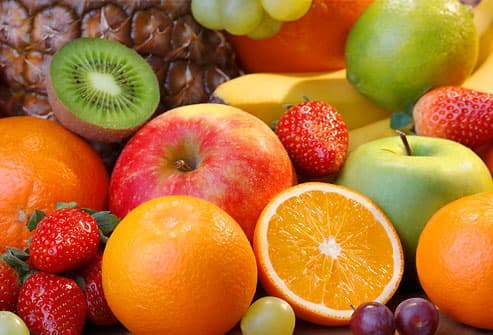 Colorful variety of fresh fruits