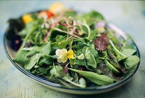 Spinach and fresh greens in salad